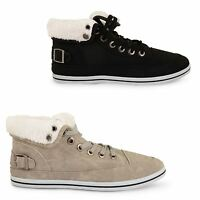 WOMENS LADIES LACE UP FUR LINED WINTER WARM ANKLE BOOTS HI HIGH TOP TRAINERS