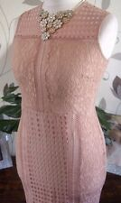 NEXT SZ 10 PETITE NUDE BLUSH LACE PENCIL WIGGLE MIDI DRESS BNWT NEW IN RRP £58!