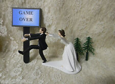 Wedding ~Game Over Sign~ Beer Can  Drunk Running Groom Cake Topper Dark Hair