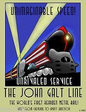 ART DECO JOHN GALT LINE RAILWAYS TRAIN ANTIQUE POSTER PRINT ART PAINTING large