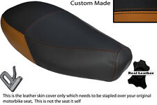 TAN & BLACK CUSTOM FITS PIAGGIO VESPA ET2 ET4 125 DUAL LEATHER SEAT COVER