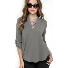 Womens V Neck Chiffon Tops Blouse Roll Up Sleeve Loose T Shirts Dress Pullover