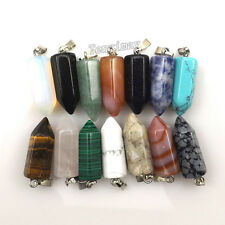 24pcs Bullet Shape Semi-precious Stone Pendant For Necklace DIY Mixed Lot