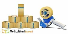 """6 Rolls 3"""" x110 yd Clear Packing Tapes 1.6 Mil + Free 3 Inch Tape Gun Dispenser"""