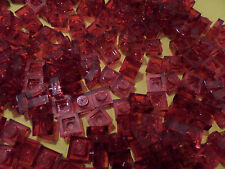 LEGO - 100 1x1 Square Plate Trans Red Transparent 30008