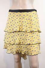 Milly $325 Tiered Ruffle Asymmetric Skirt SZ 8 Yellow Black Briefcase Bustled