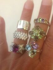 Sterling Silver 925 Rings , Job Lot - Wear , Sell On , Some QVC, Gemstone Set
