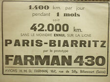 9/1934 PUB AVIONS H M D FARMAN PROTOTYPE FARMAN 430 LIGNE PARIS BIARRITZ AD