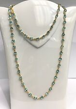 14k Solid Yellow Gold Long Tennis Necklace, Natural Blue Zircon. 30 Inches. 55CT
