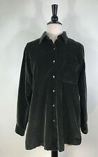 L.L. Bean Shirt Olive Green Velvet Jacket Comfy Women's  Size Small