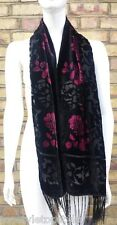 **EASTEX**RED ROSE VELVET DEVORE TASSEL SCARF- RRP: £22.00