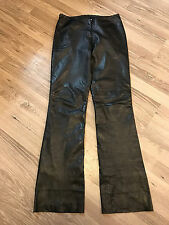 BLACK LEATHER MOTORCYCLE PANTS WOMENS 4 (28X33) CACHE EUC FREE SHIPPING