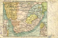 BOER WAR, South African War Zone, MAP Postcard (1899) Stamp