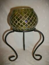 GREEN MIRROR TILE GLASS CANDLE HOLDER WITH WROUGHT IRON STAND 10'' TALL