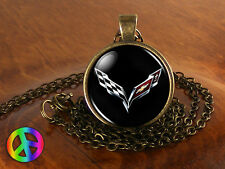 Corvette 2 Car Cars Silver Men Mens Womens Necklace Pendant Jewelry Gift Gifts