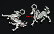 50pcs lucky Tibet Silver Two-Sided horse Jewelry Finding Charm Pendants 15x14mm