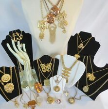 Vintage Costume Jewelry Lot-GOLDTONE CHAINS W/PENDANTS-Reticulating-Novelty-29PC