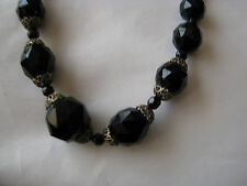 """VINTAGE 1940'S 50'S BLACK FACETED GLASS GRADUATING BEADS 18"""" CHOKER NECKLACE"""