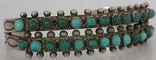 Old heavy Native American Zuni, Sterling double row Turquoise cuff bracelet