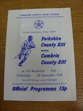 20/09/1978 Yorkshire v Cumbria [At Hull] Rugby League Official Programme (the pr