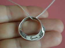 925 Sterling Silver I Love You, I Love You More Message Charm Necklace