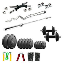 FITFLY Home Gym Set 24 Kg Plates + 5Ft Plain +3Ft Curl Rod + Gloves + Dumbbells
