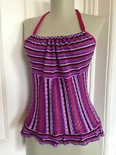 Moschino Cheap & Chic sz 10 Purple Halter Knit Striped Designer Tank Top Blouse