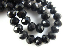 Bulk 50Pcs Black Crystal Glass Faceted Rondelle Beads 6mm Spacer Finding Charms
