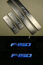 Blue LED light 4 Doors Stainless Door Sill Plate Guard For Ford F150 2009-2015