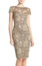 TADASHI SHOJI EMBROIDERED LACE SHEATH SMOKE PEARL DRESS sz 14