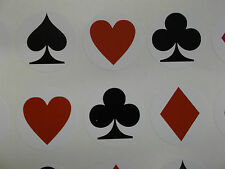 60 Playing Card Stickers hearts diamonds clubs spades - (133*)
