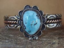 Native American Jewelry Silver & Turquoise Bracelet by Albert Cleveland! Navajo