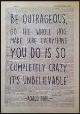Roald Dahl Quote Print Vintage Dictionary Page Wall Art Picture Outrageous Crazy