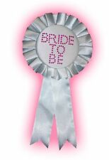BRIDE TO BE Hen Night Party Rosette Badge WHITE with PINK diamantes