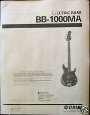 Yamaha BB-1000 MA Electric Bass Guitar Service Manual and Parts List Booklet