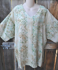 """ART TO WEAR MISSION CANYON 11 SINGLET V NECK TUNIC IN NEW BUTTER, OS+, 56""""B"""