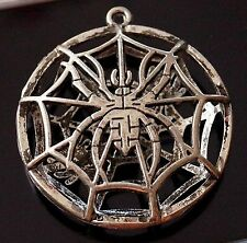1 Large Hollow Tibetan Silver Spider Charm Pendant Halloween Clearout (TSC112)