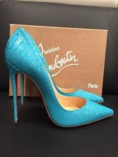NIB Christian Louboutin So Kate 120 Blue Pacific Python Snake Heel Pump 38 $1395