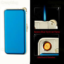 Blue Ice USB Electric Flameless Torch Jet Flame Cigarette Lighter Rechargeable