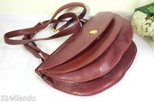 Vintage Must de CARTIER Burgundy Leather Bordeaux Accordion Sling Shoulder Bag
