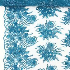 """Turquoise Bridal Celosia floral Lace Sequins Beaded Scallop Fabric Dress 52"""" BTY"""