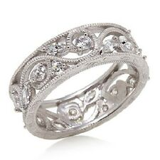 XAVIER ABSOLUTE FLORAL ETERNITY STERLING SILVER BAND RING SIZE 5 HSN SOLD OUT