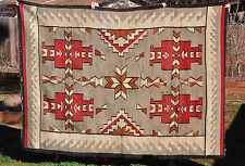 "LARGE OLD GANADO NAVAJO INDIAN  RUG - RED, GREY, WHITE - 83"" BY 60"""