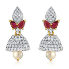 Spargz Ethnic Gold Plated With CZ Stone, Pearl & Ruby Jhumki Earrings AIER 579