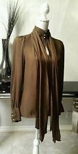ZARA WOMAN SIZE S / M BROWN HIGH NECK FASTEN COLLAR SCARF PUSEY BOW  GORGEOUS