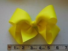 "New Large Bright Yellow 6"" Grosgrain Girls Handmade Huge Hair Bow"