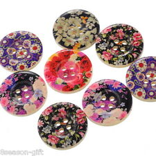 50 Mixed Flower Wood Painting Sewing Buttons B12637