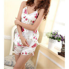 2pcs Sexy Women Satin Lace Sleepwear Babydoll Lingerie Nightdress Pajamas Set