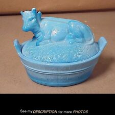 Antique EAPG Blue Milk Glass Cow Covered Dish