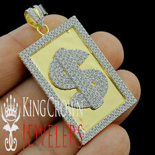 Mens Real Yellow Gold Silver Dollar Sign Money Custom Frame Pendant Lab Diamond